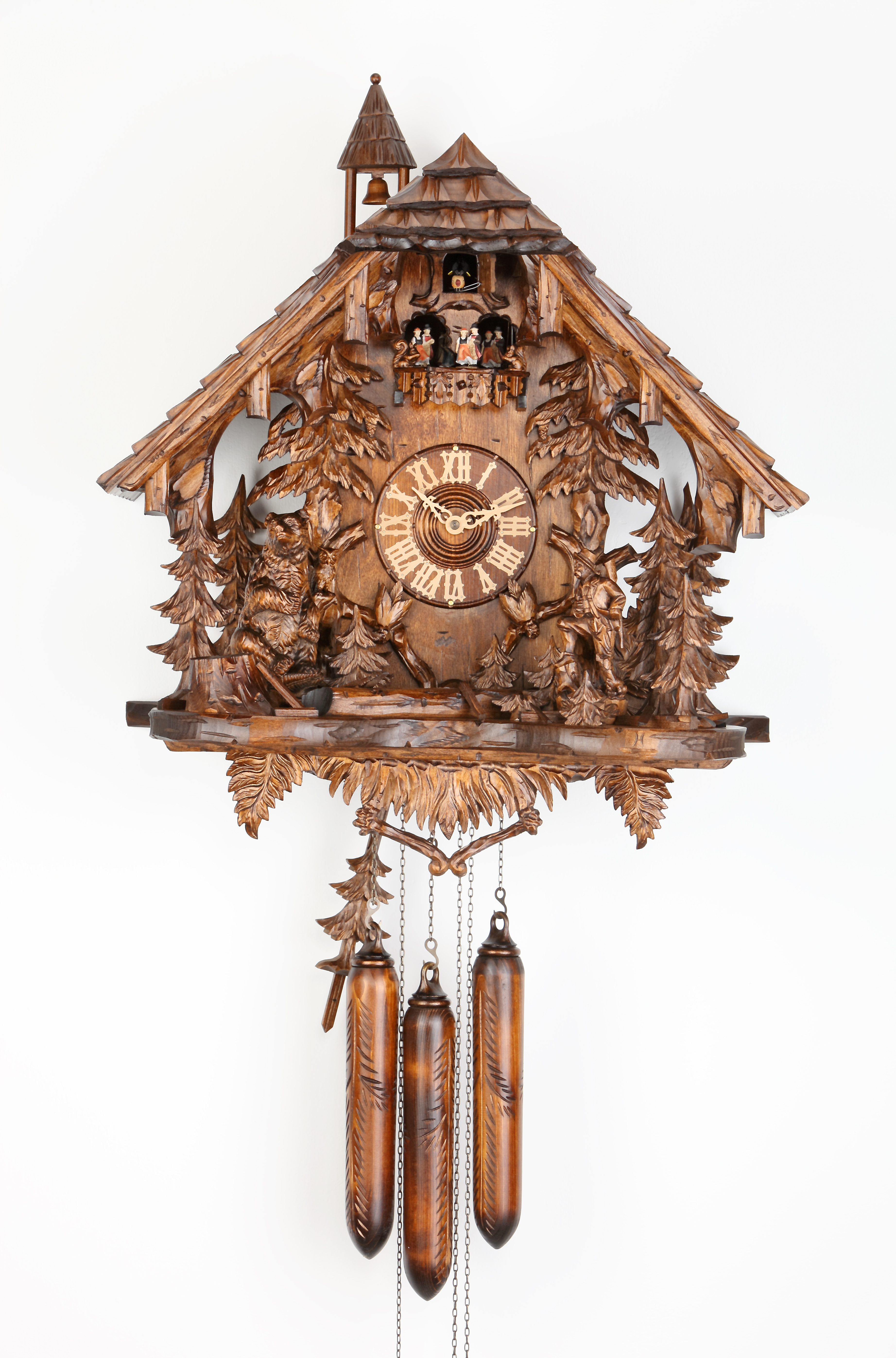 8 Days Music Dancer  Cuckoo Clock with forest scene, hunter and bear