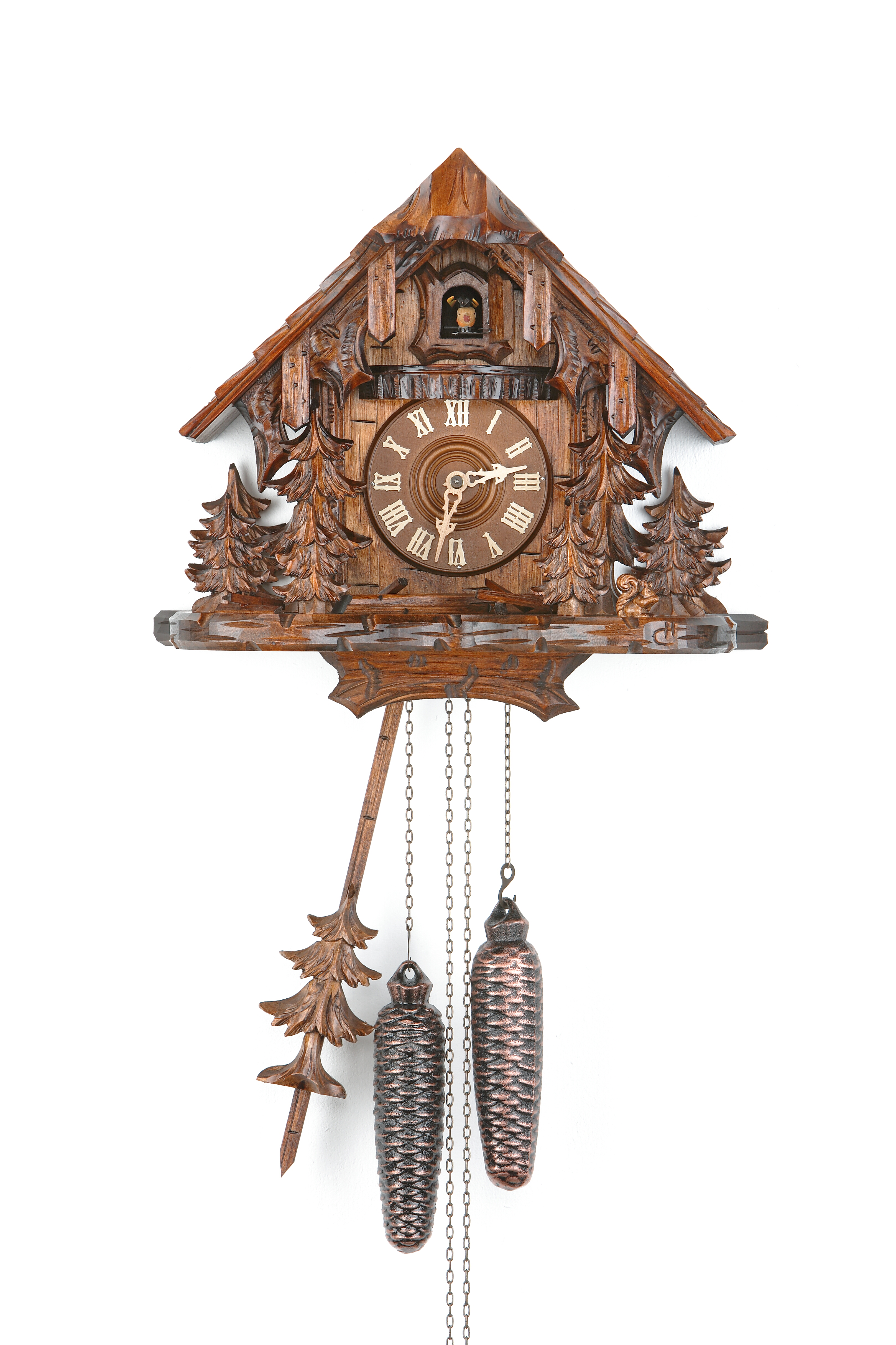 8 Days Cuckoo Clock Black Forest House with squirrel