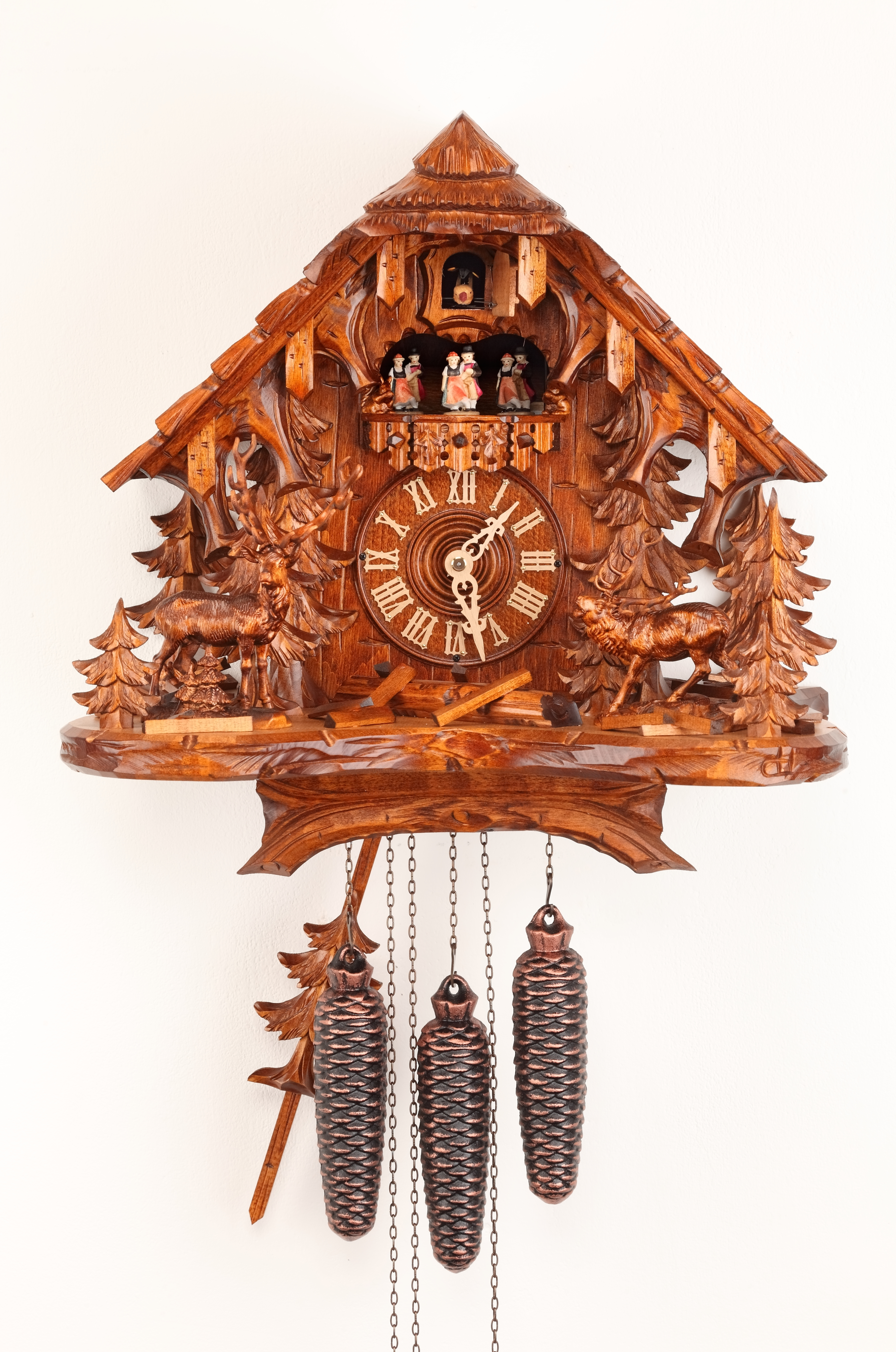 8 Days Music Dancer  Cuckoo Clock Black Forest House with deers