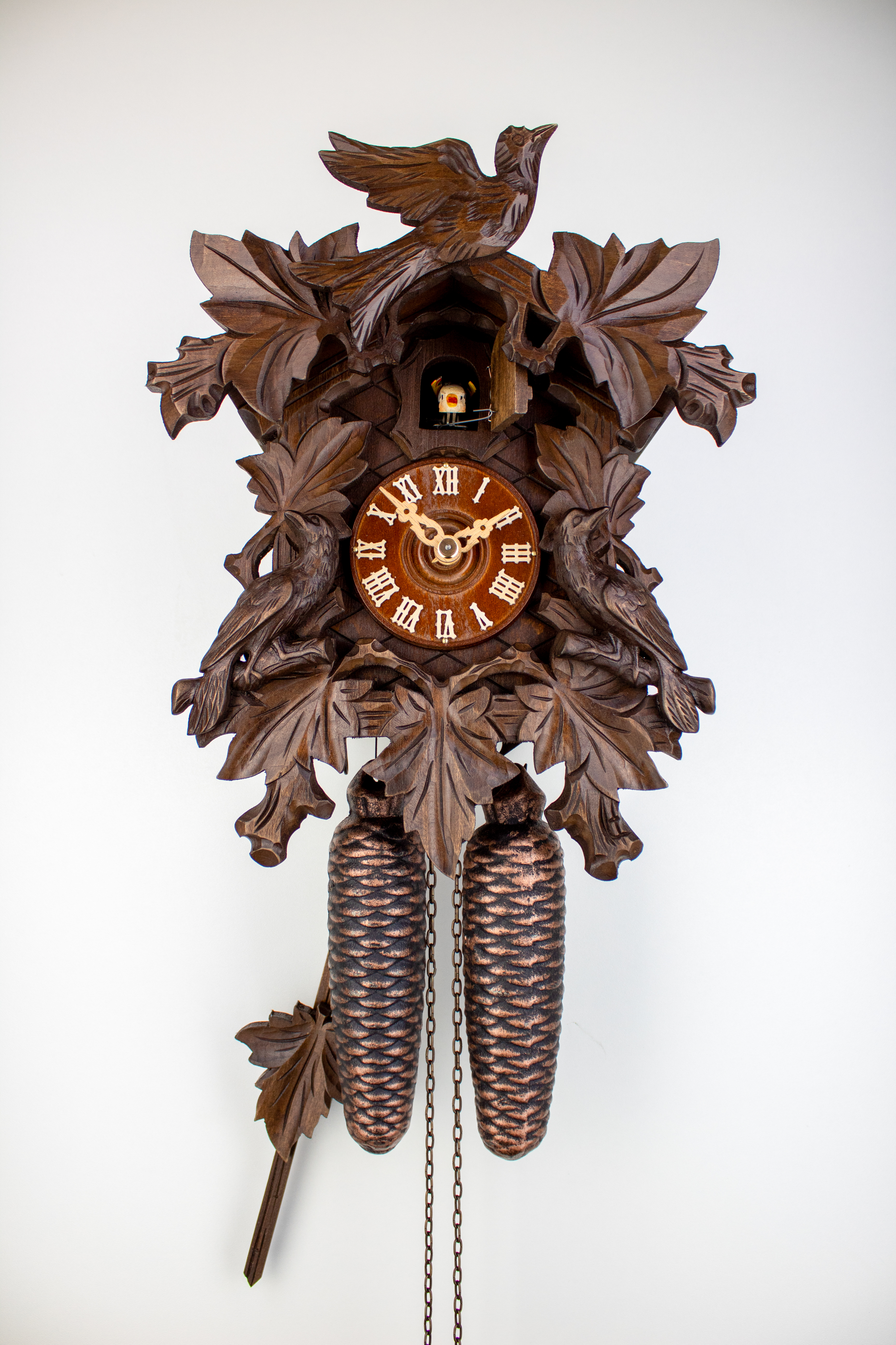 8 Days Cuckoo Clock with cuckoo pair and vine leaves and bird