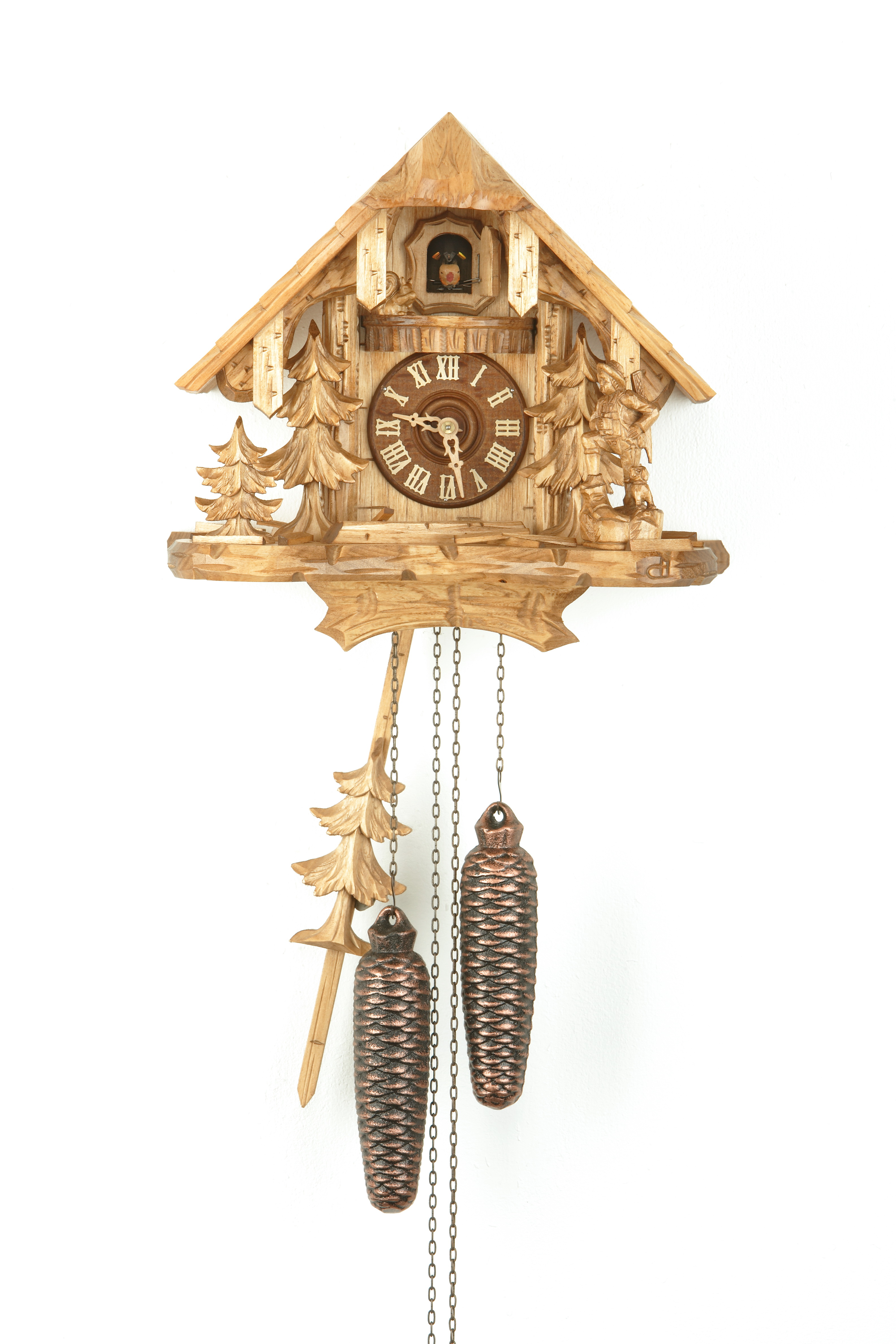 8 Days Cuckoo Clock Black Forest House with hunter and squirrel
