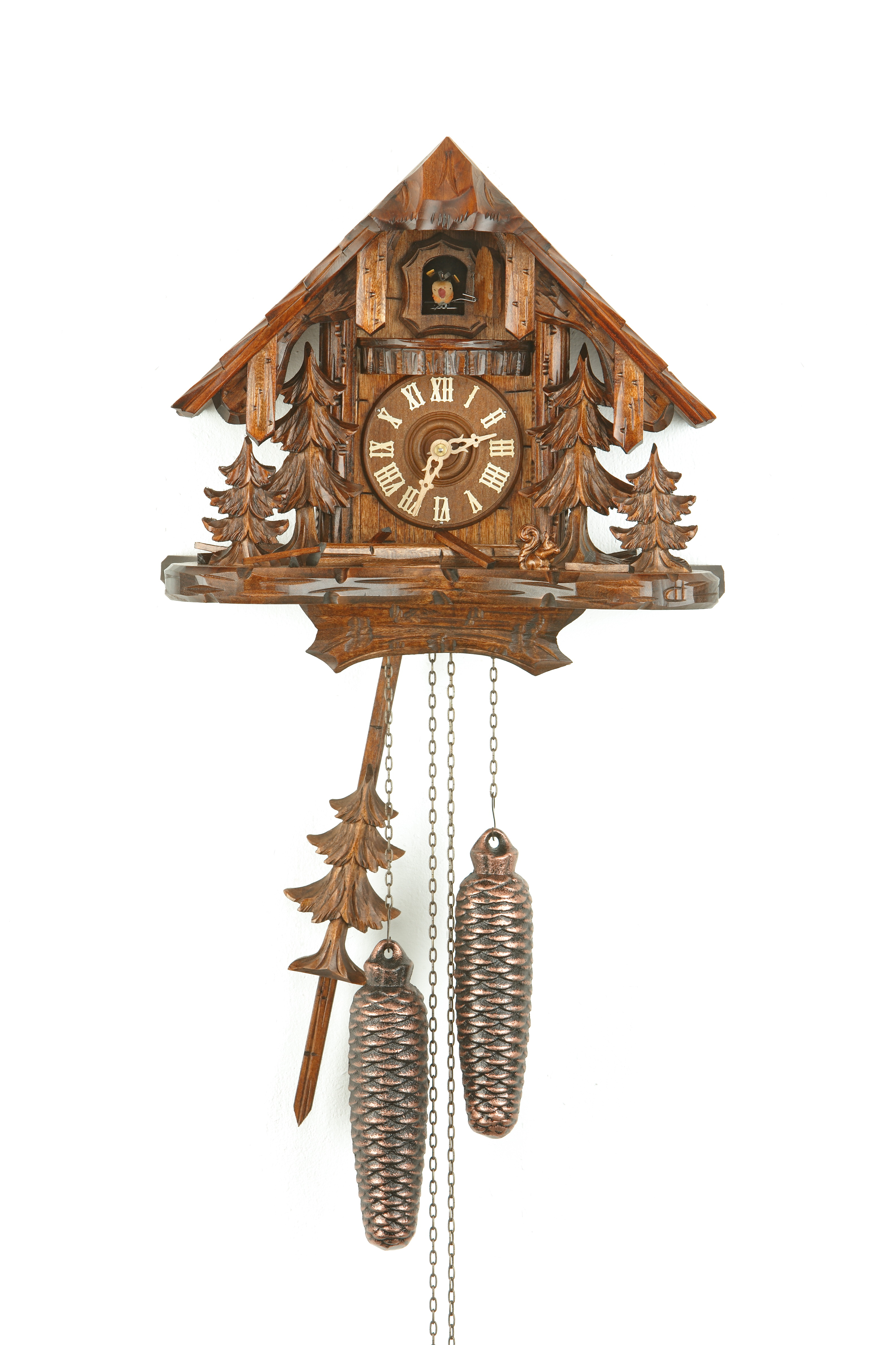 8 Days Cuckoo Clock Black Forest House with woodland and squirrel