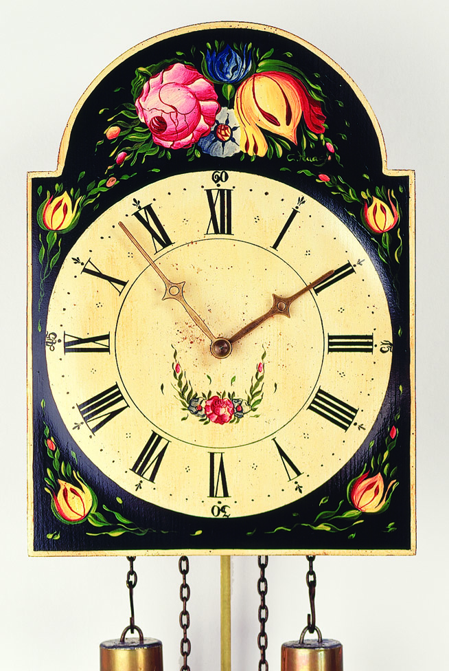 "8 Days Shield Clock  ""flower design"" -handpainted-"