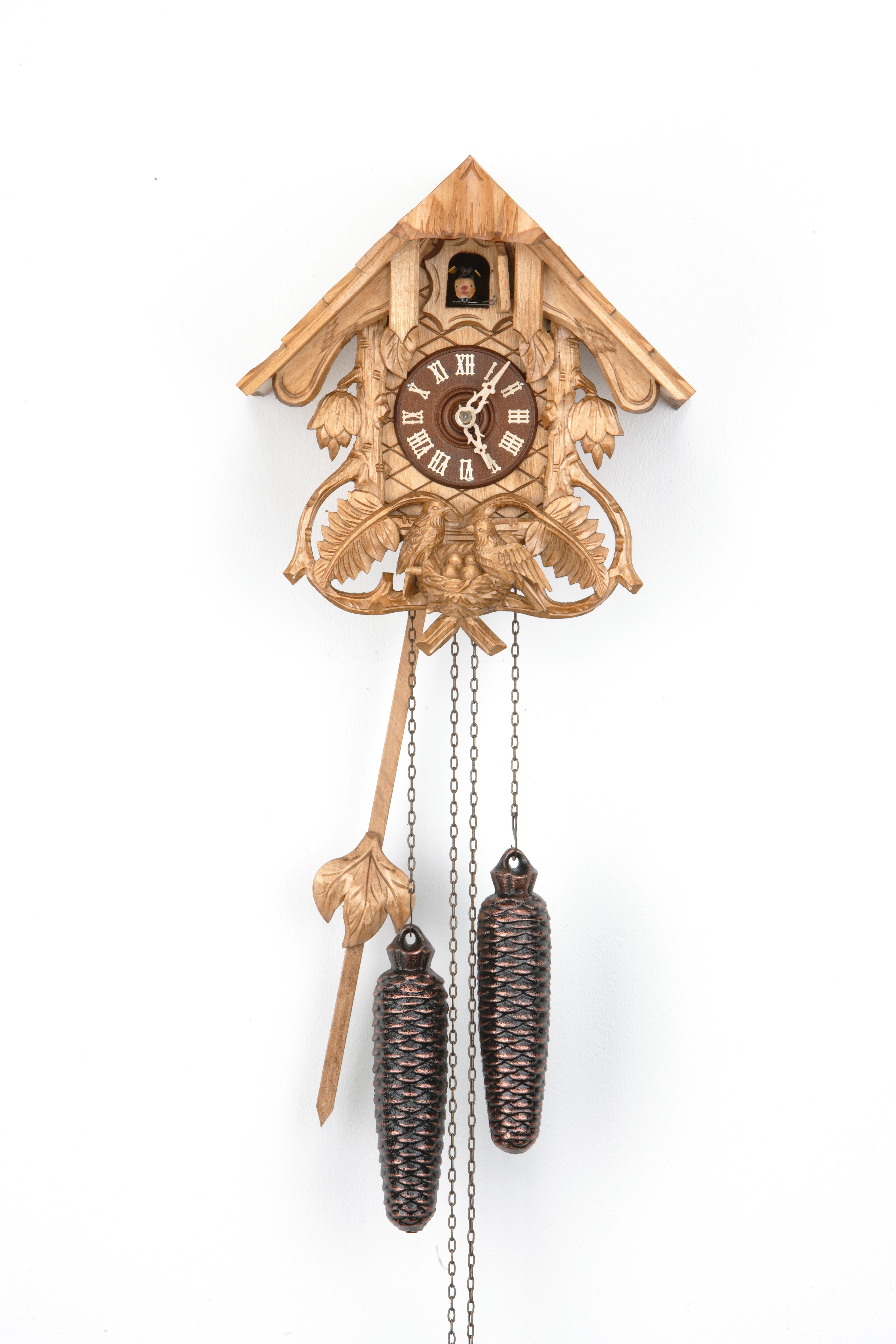 8 Days Cuckoo Clock Black Forest House with fern leaves and bird family