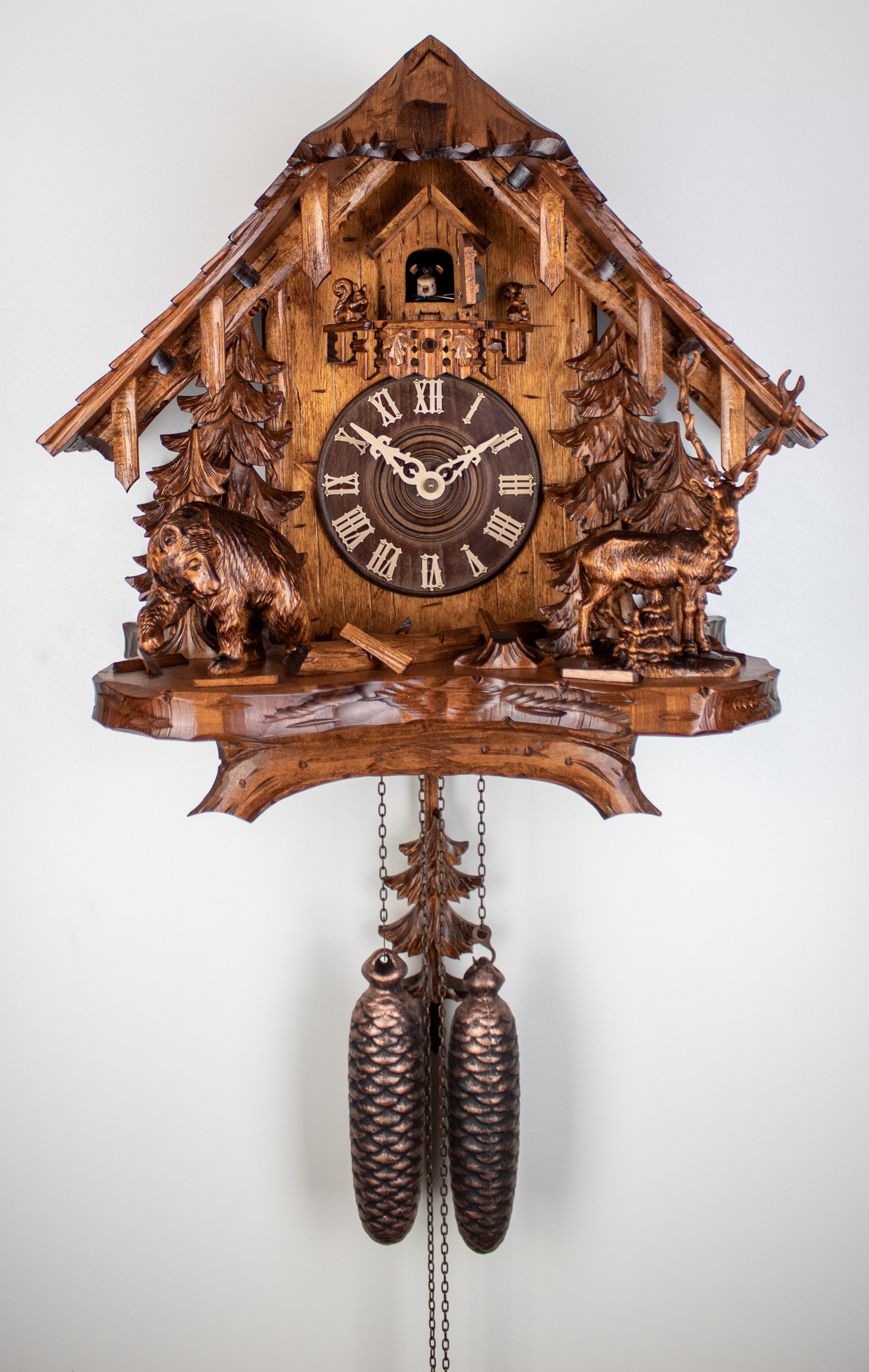 8 Days Cuckoo Clock Black Forest House with bear and deer