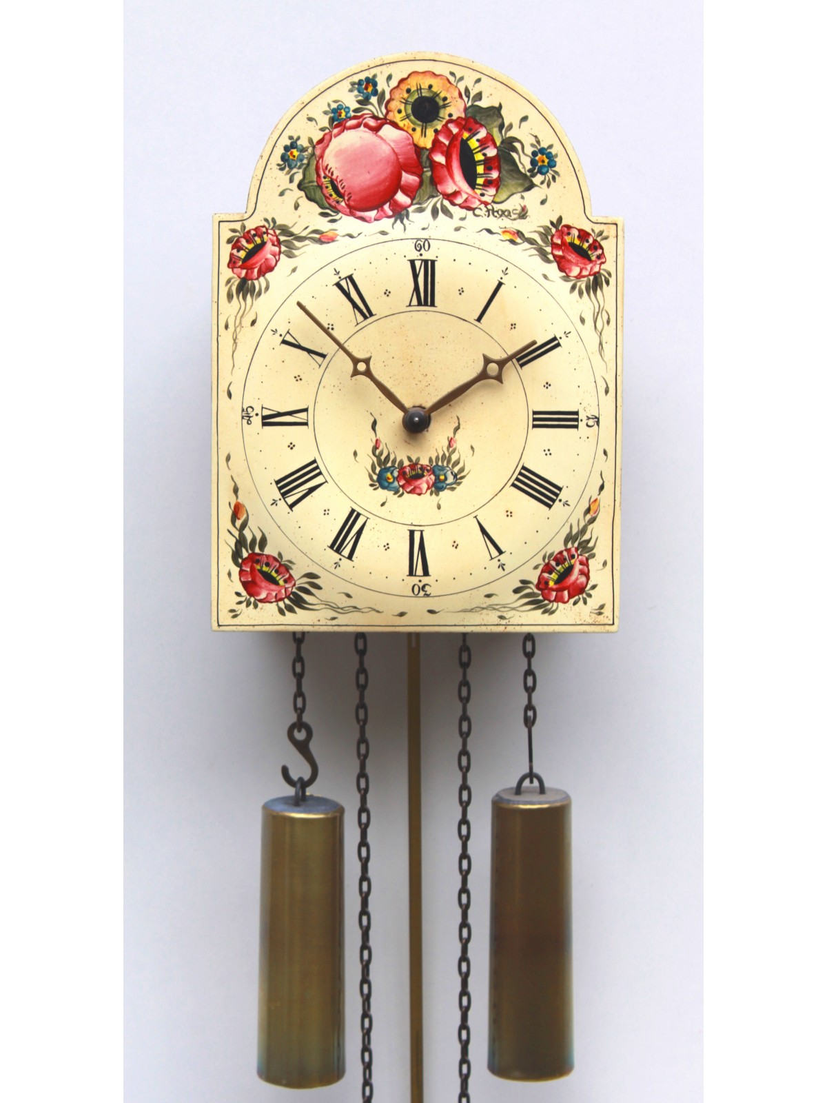 "8 Days Shield Clock  ""flower design"" -handpainted-"
