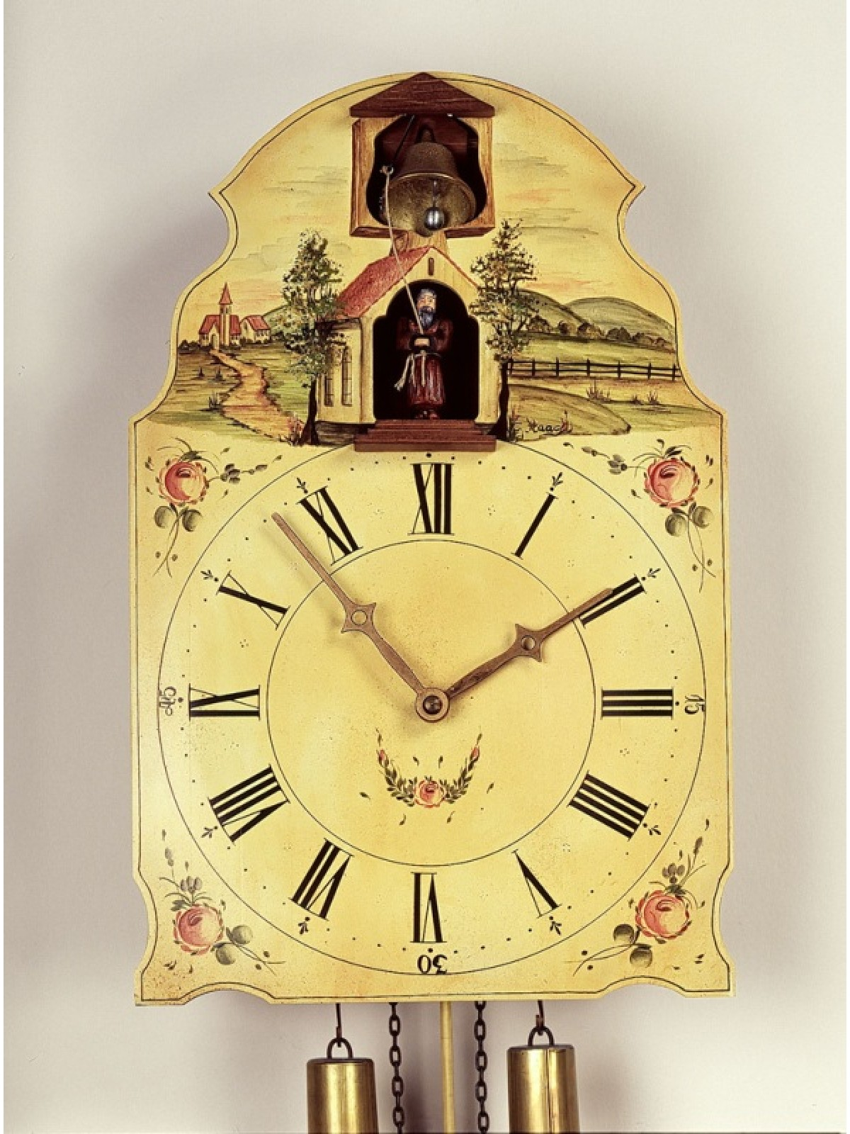 8 Days Shield Clock with Capuchin who is ringing the bells -handpainted-