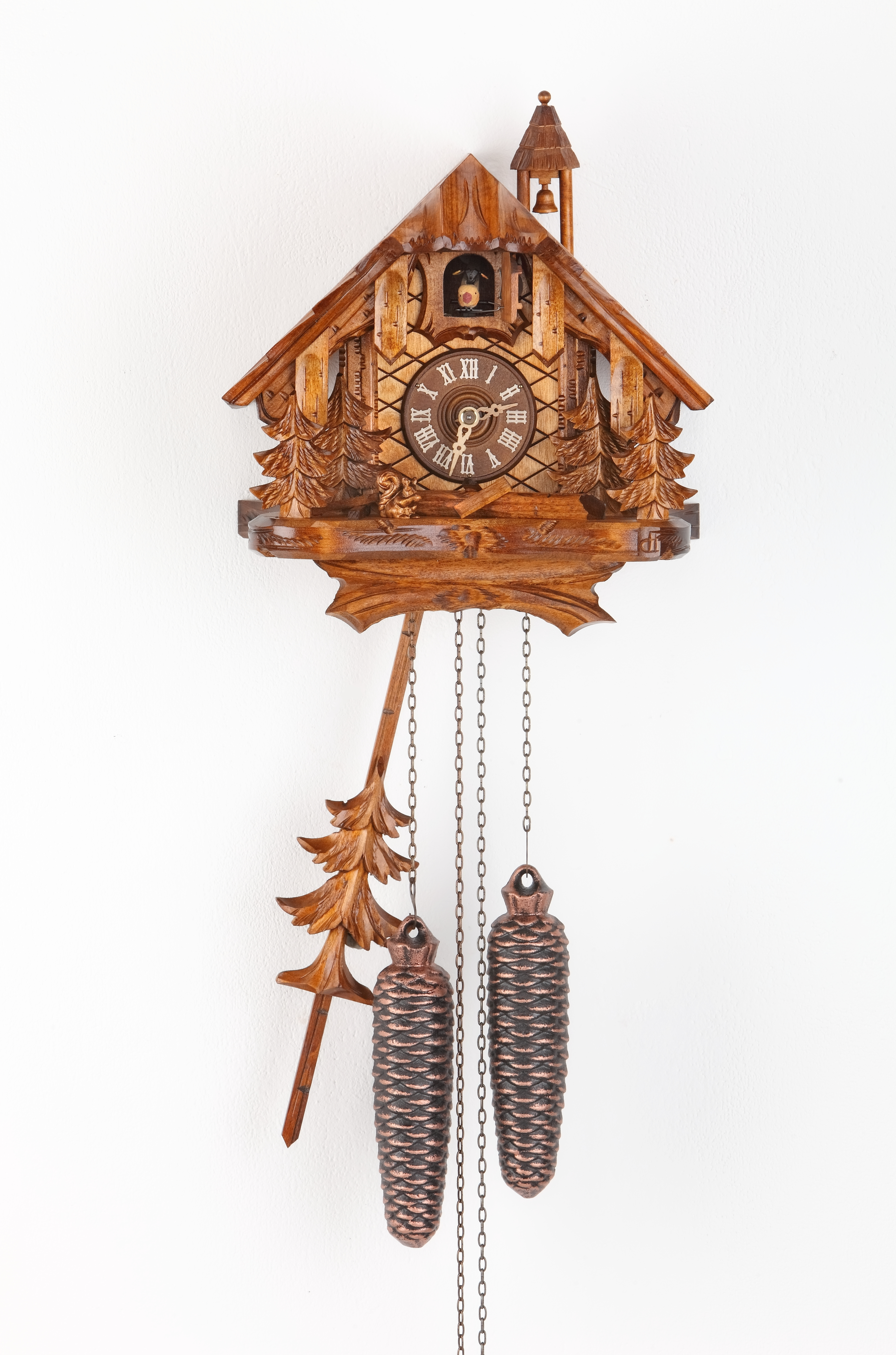 8 Days Cuckoo Clock Black Forest House with squirrel and trees