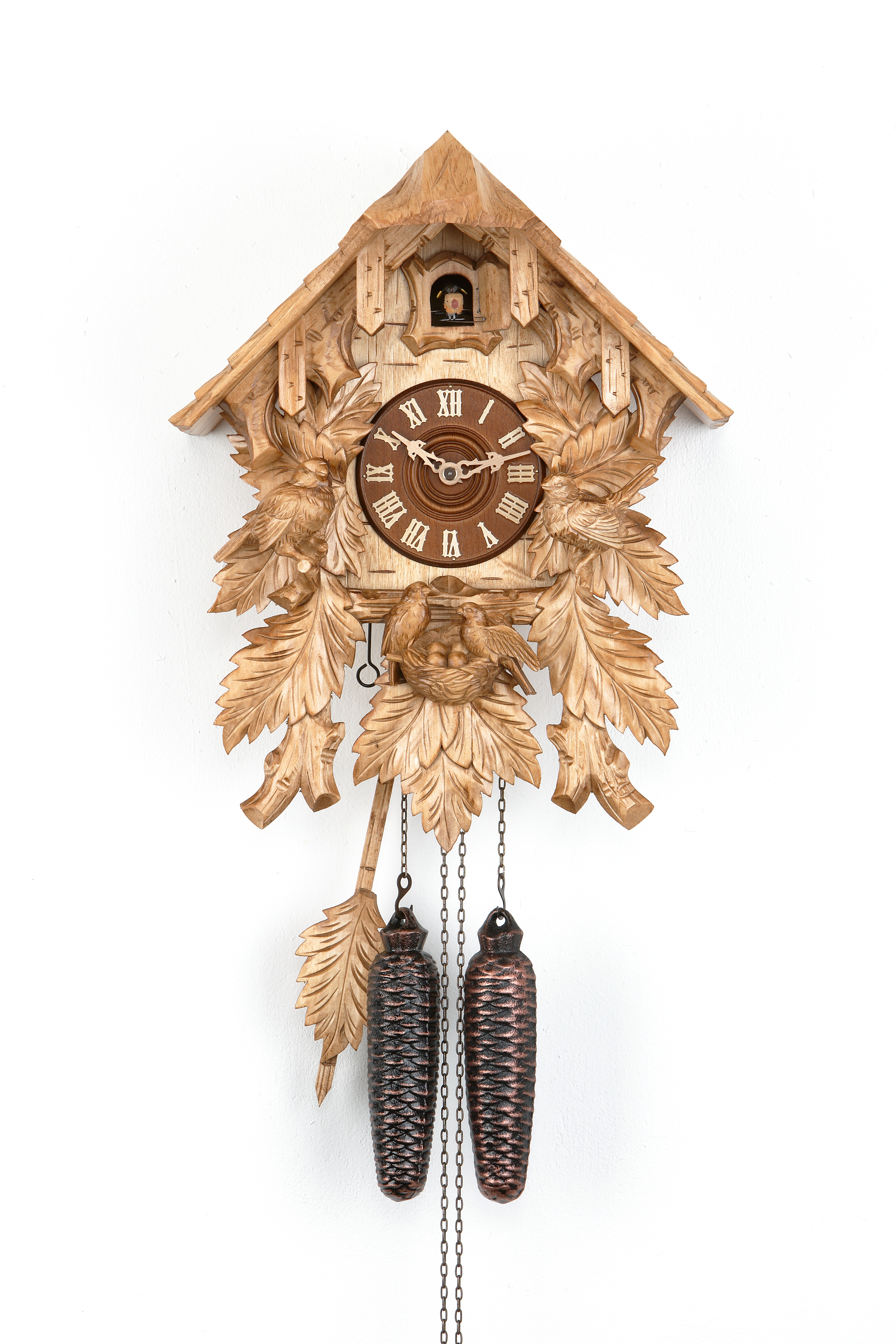 8 Days Cuckoo Clock Black Forest House with bird family
