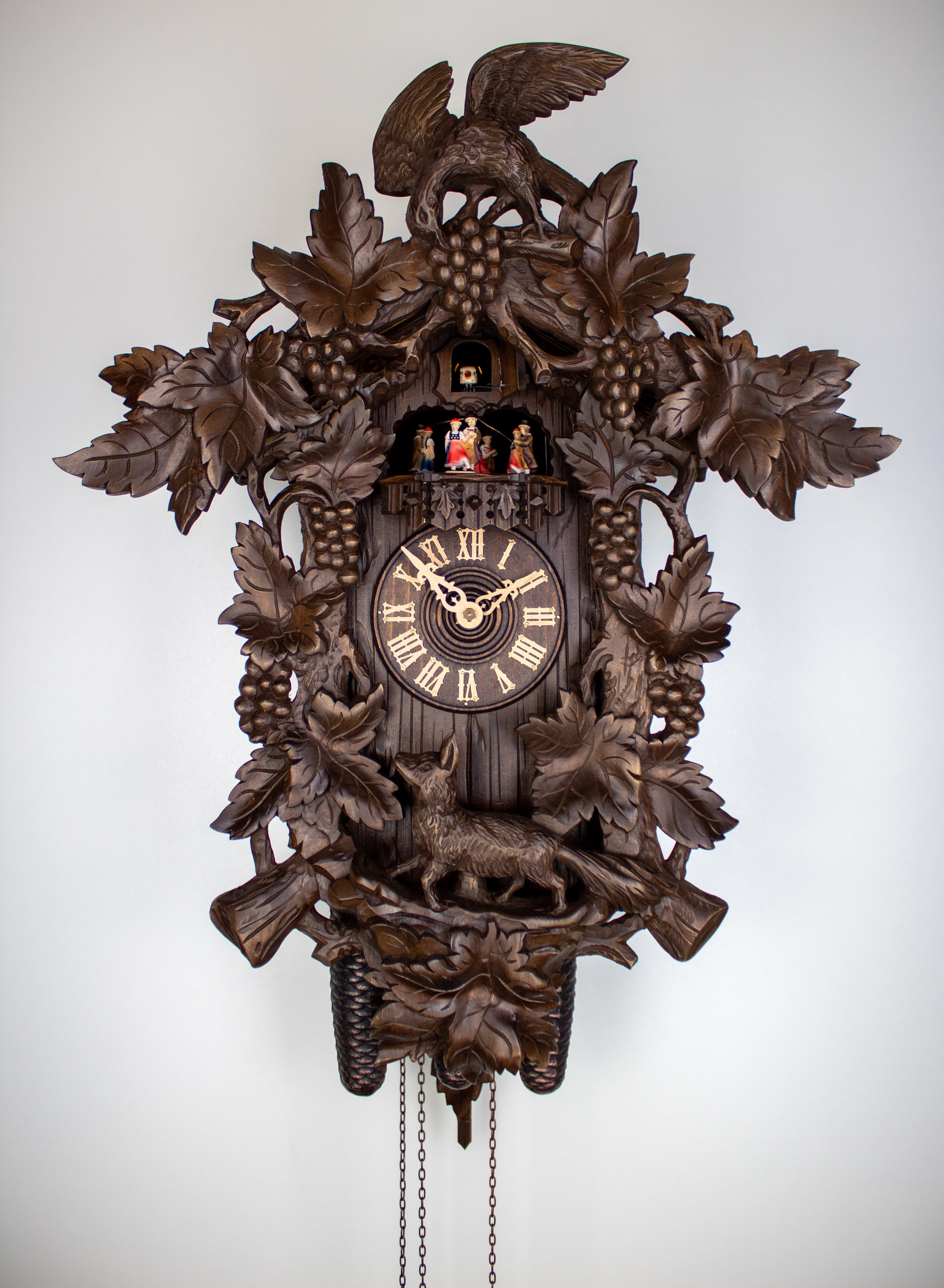 8 Days Music Dancer  Cuckoo Clock with fox and grapes