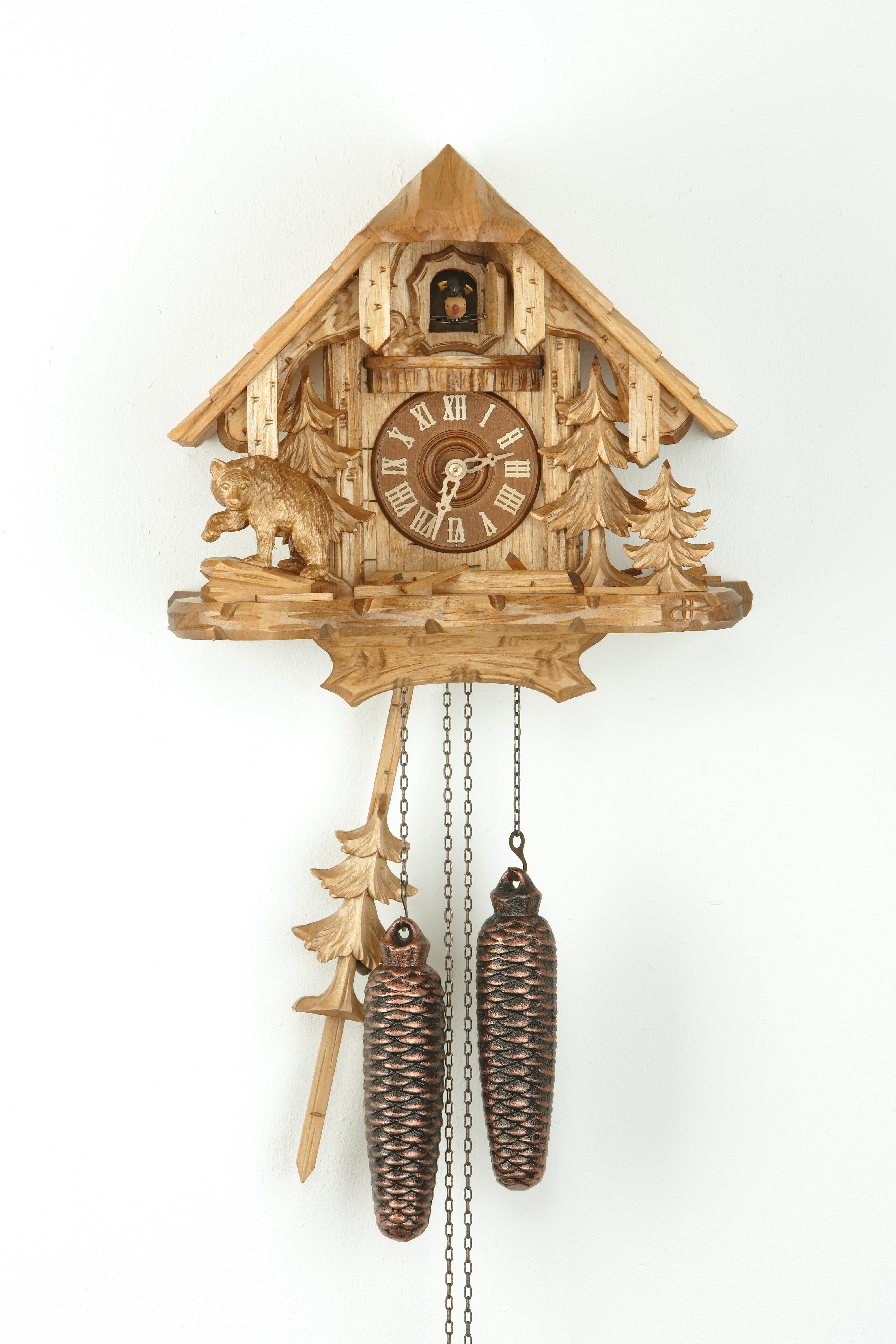 8 Days Cuckoo Clock Black Forest House with bear and squirrel