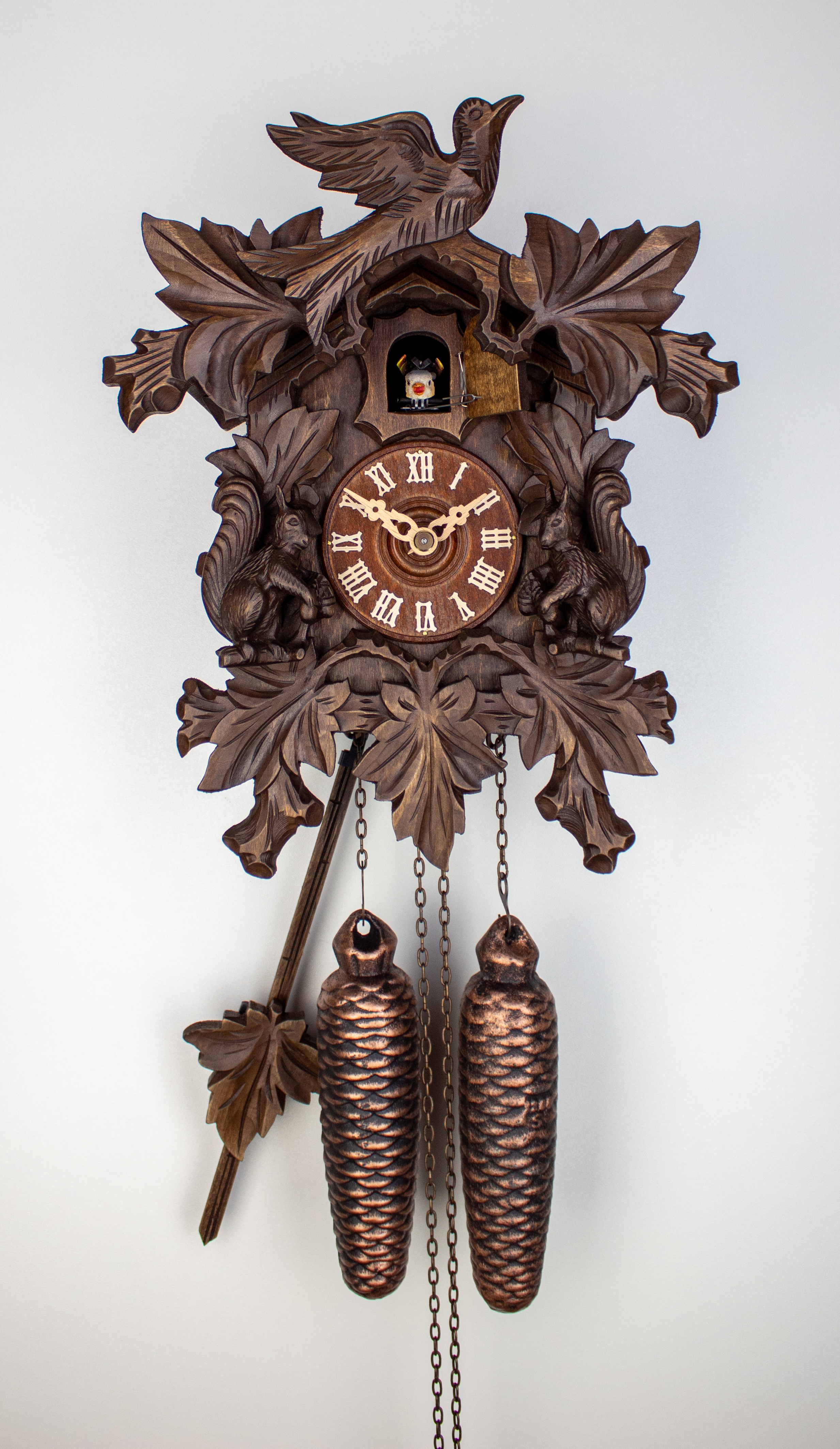 8 Days Cuckoo Clock with squirrel pair and vine leaves and bird