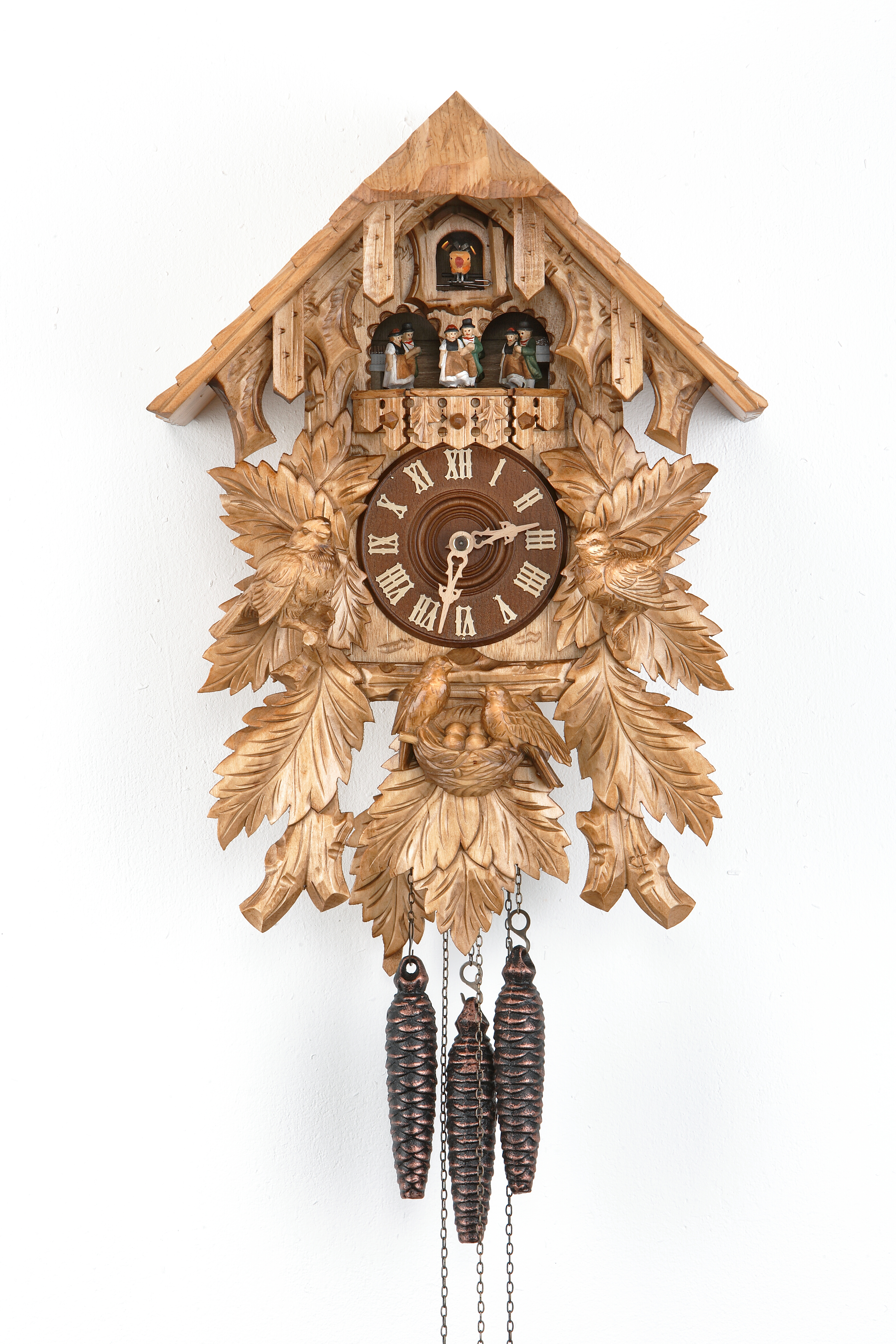 1 Day Music Dancer Cuckoo Clock Black Forest House with bird family