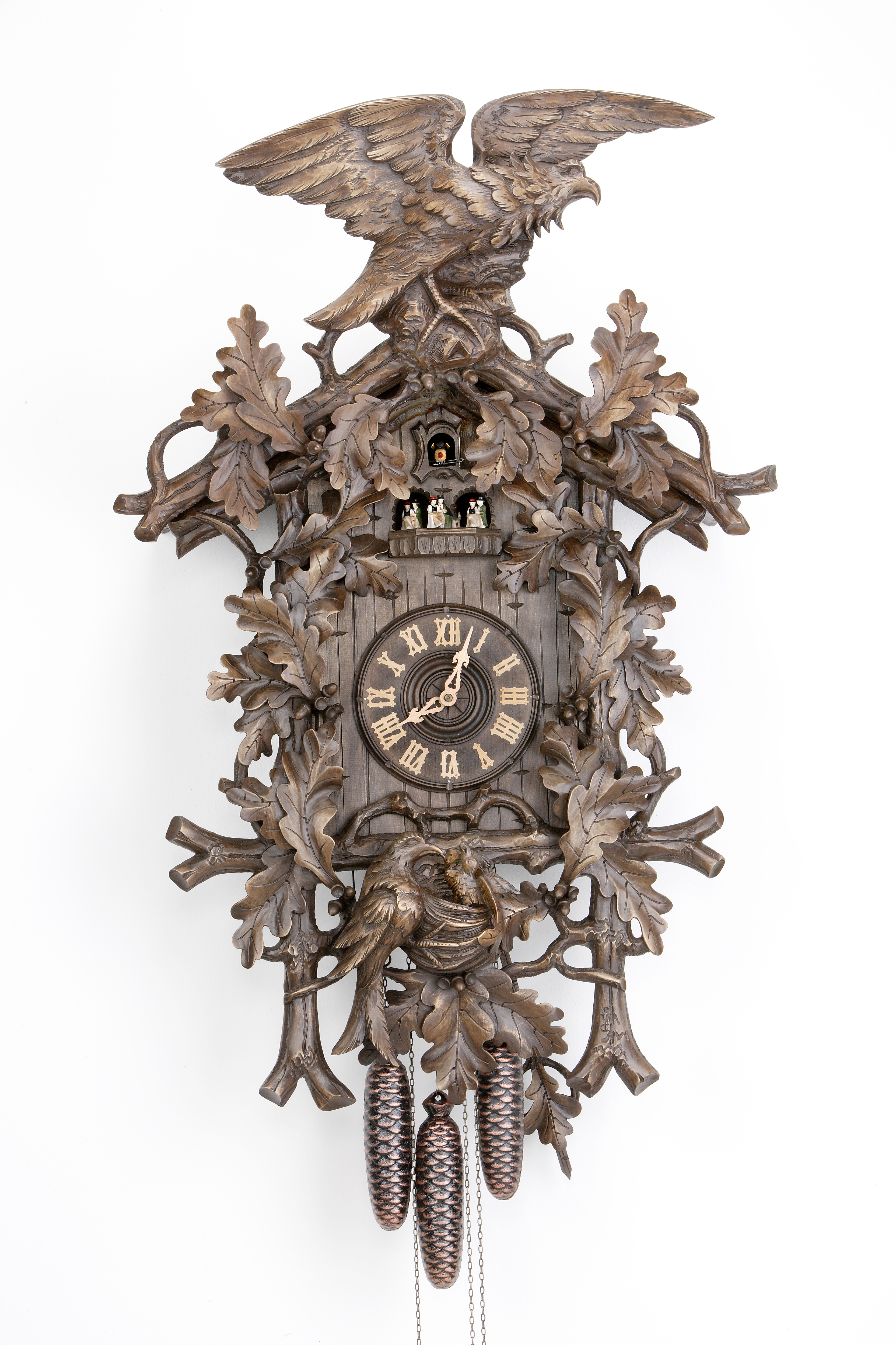 8 Days Music Dancer Cuckoo Clock with eagle and bird family
