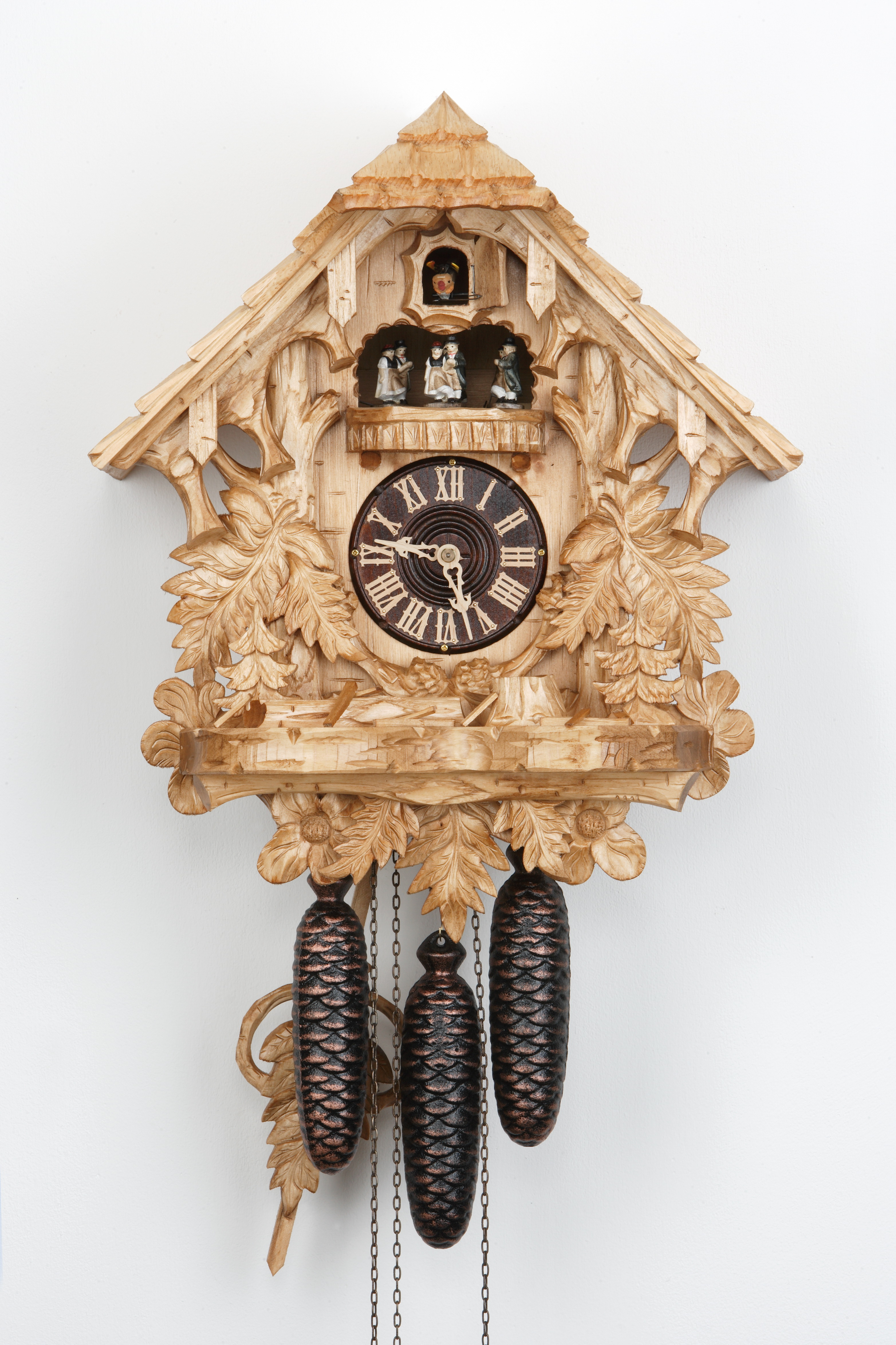 8 Days Music Dancer  Cuckoo Clock Black Forest House with fern leaves