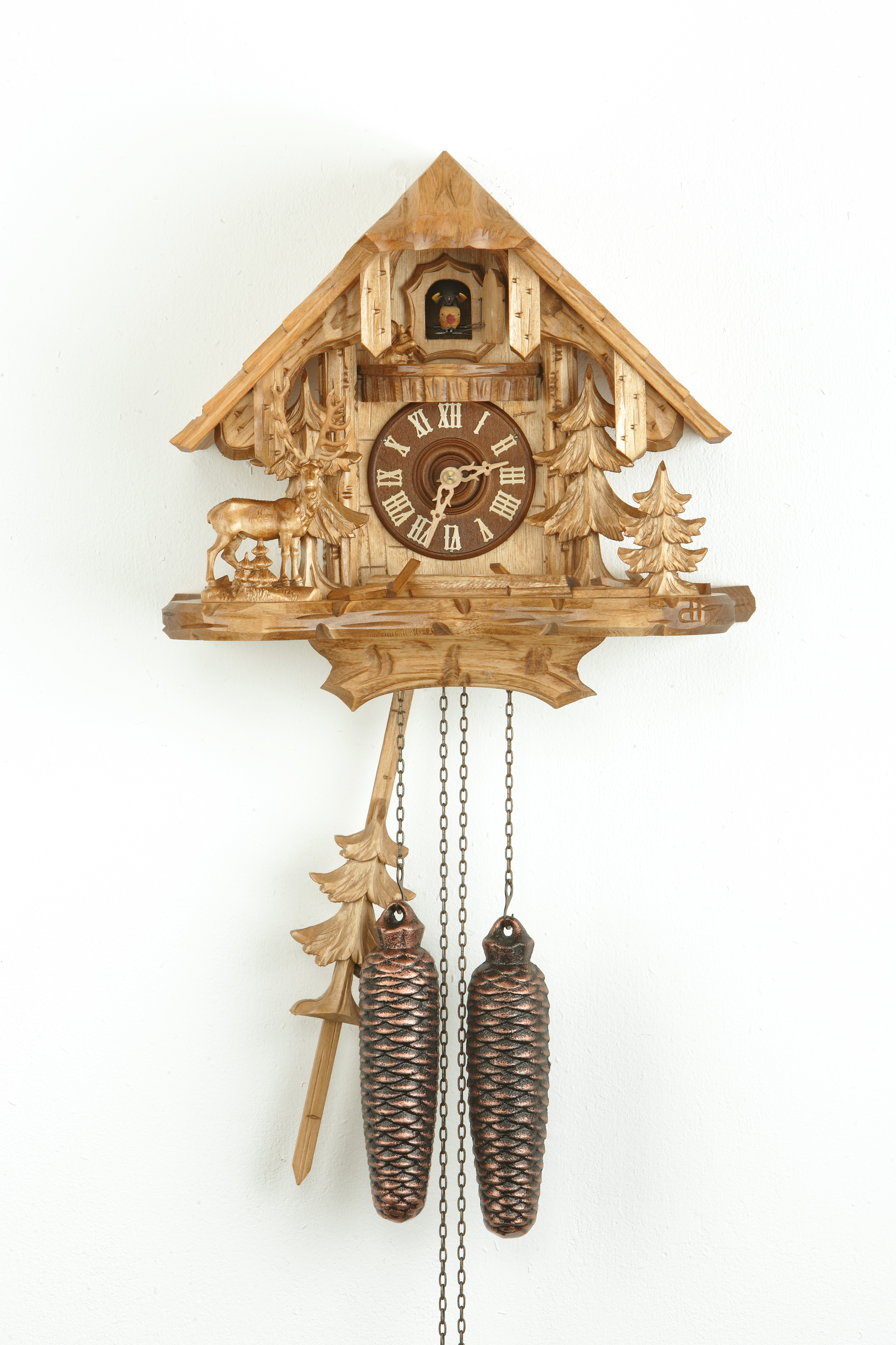 8 Days Cuckoo Clock Black Forest House with deer and squirrel