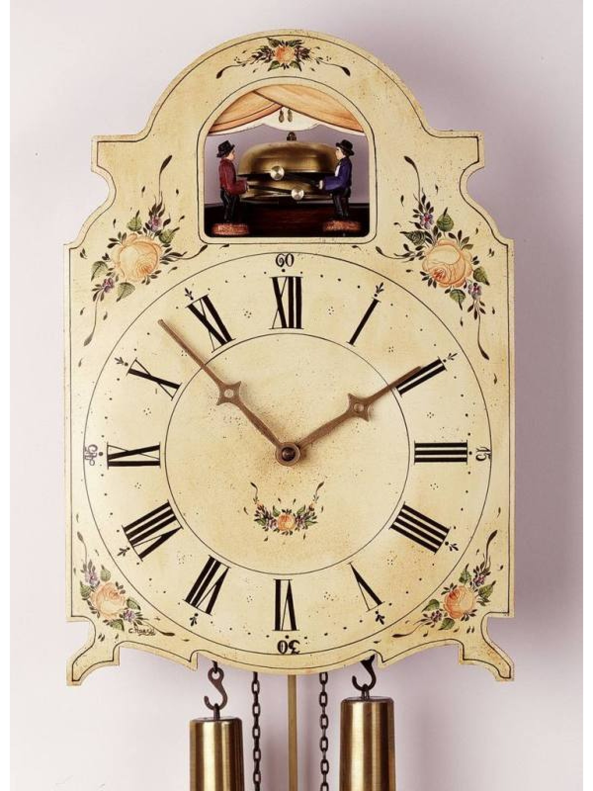 8 Days Shield Clock with two moving bellringers -handpainted-