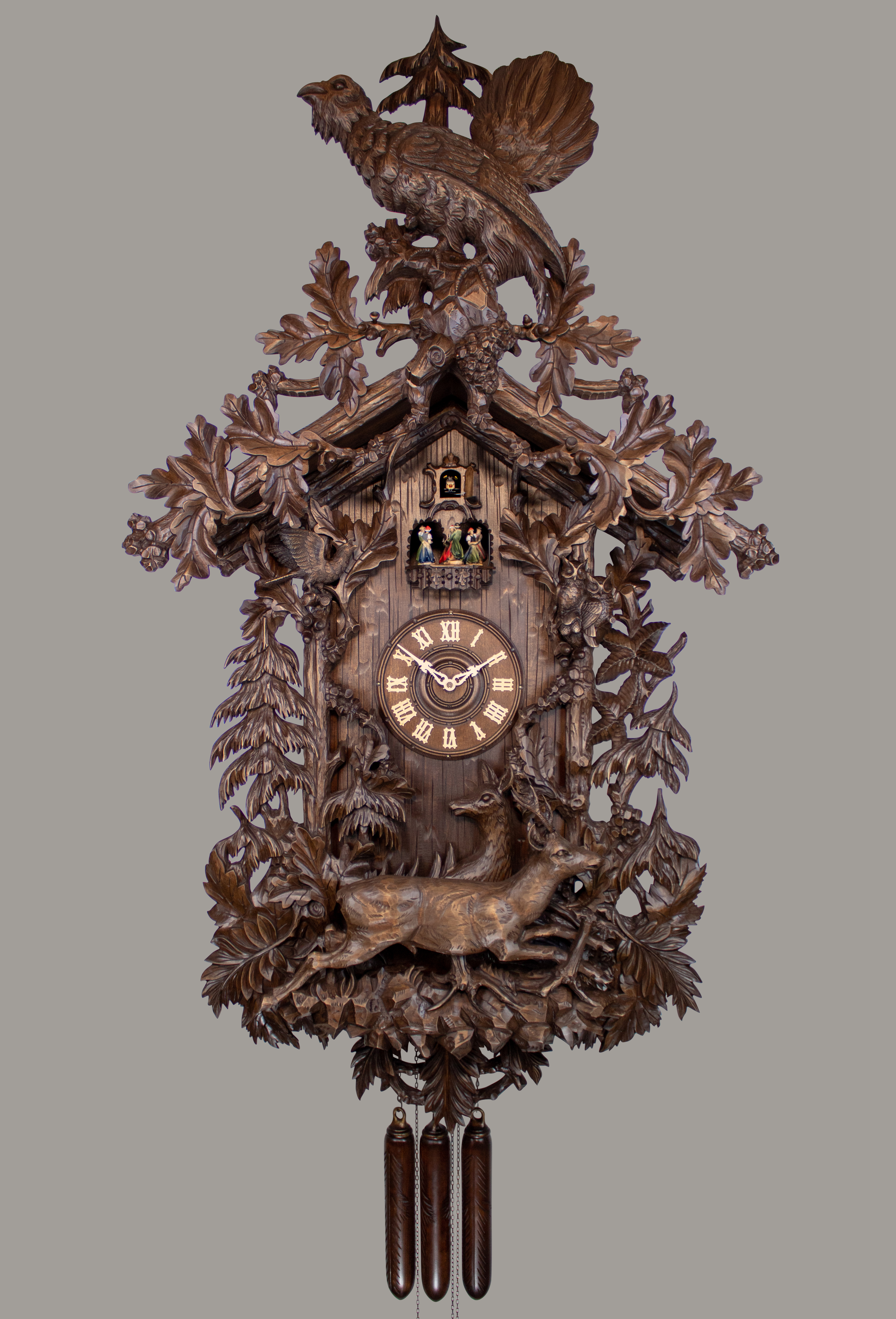 Historical 8 Days Music Dancer Cuckoo Clock with capercaillie and hunting scene with deers