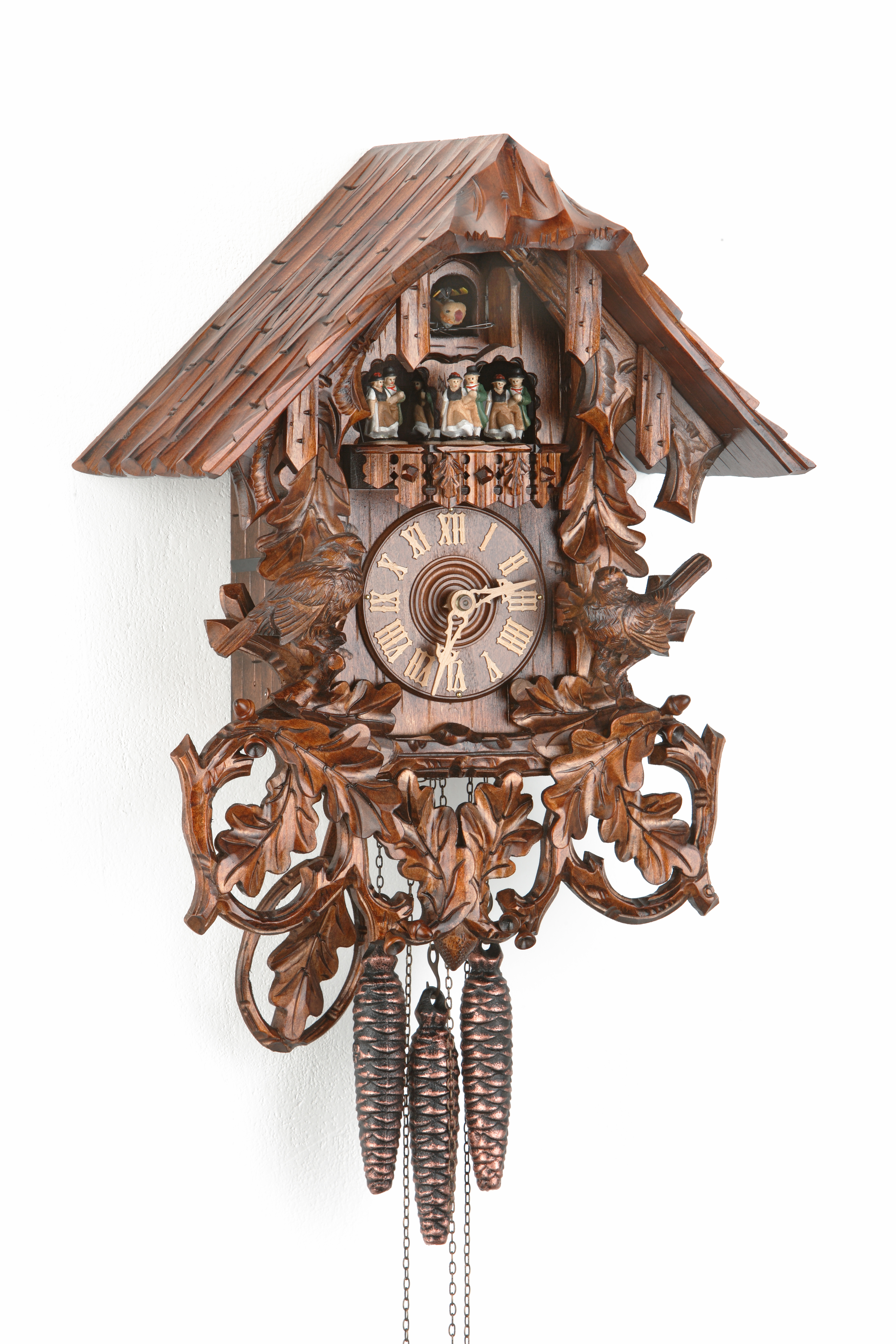 1 Day Music Dancer Cuckoo Clock Black Forest House with sparrows