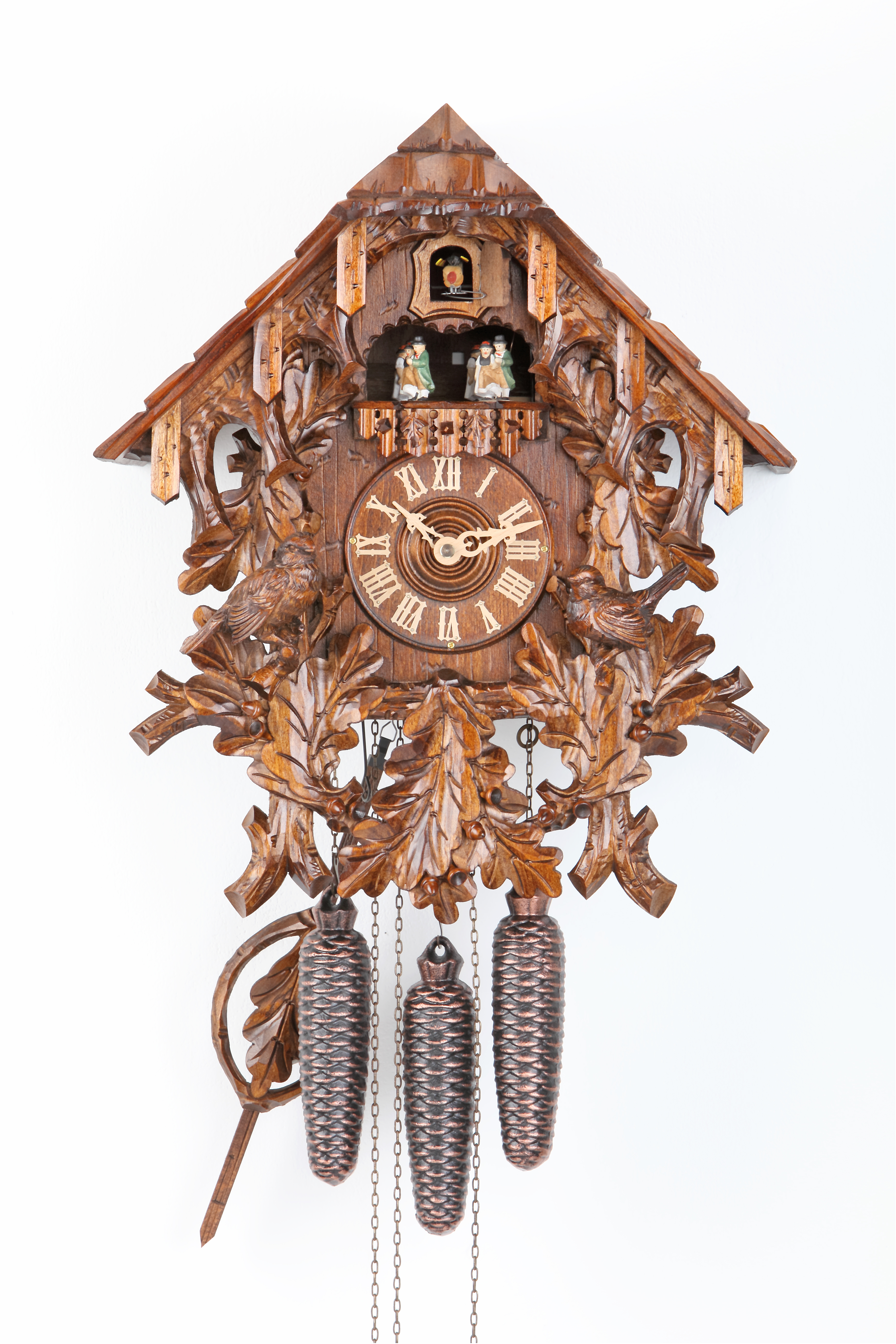 8 Days Music Dancer  Cuckoo Clock Black Forest House with sparrows