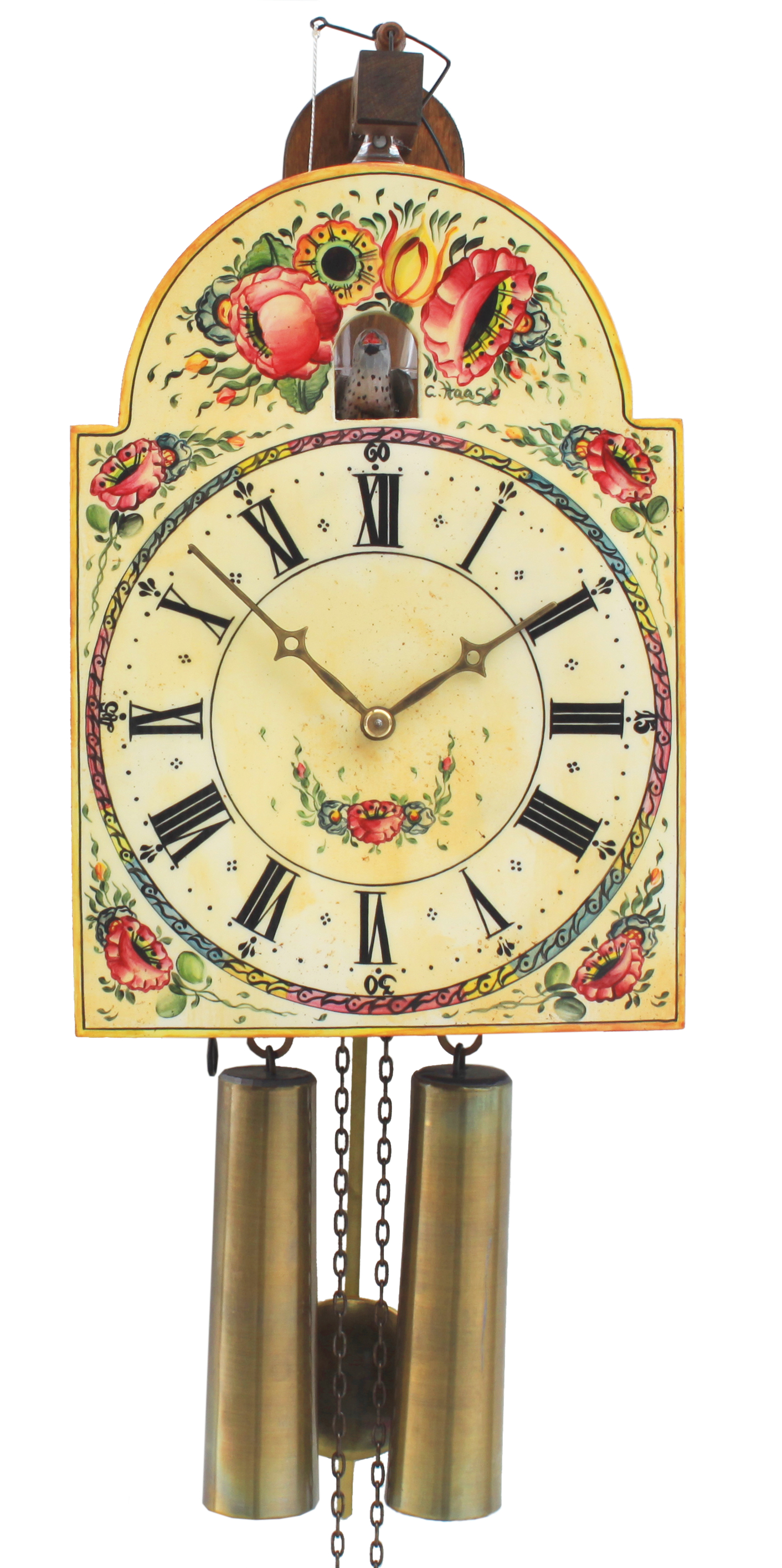 "8 Days Shield Cuckoo Clock with  visible glass bell and visible bellows on top ""flower design"" -handpainted-"