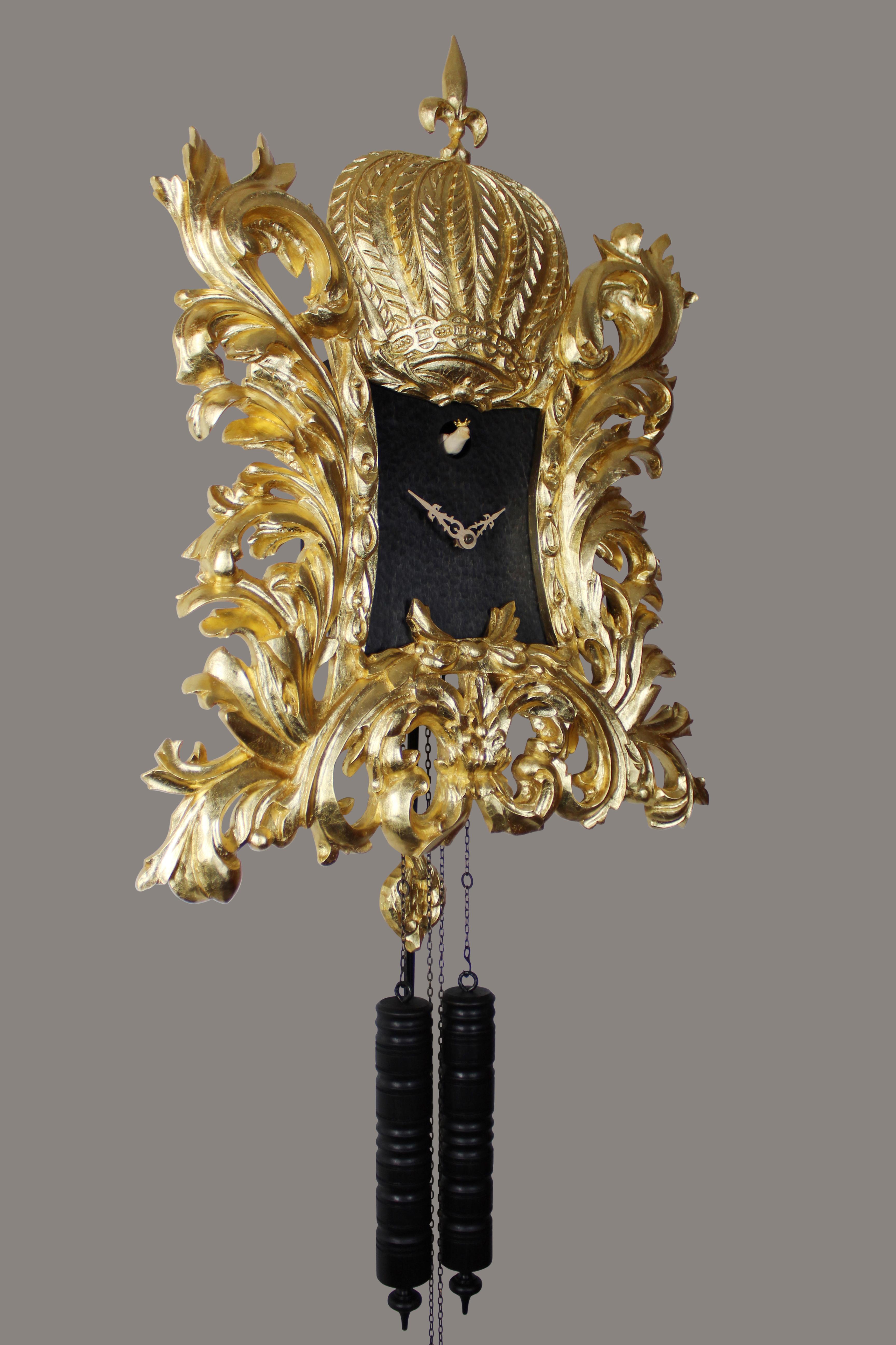 22K gold-plated Pompöös Cuckoo clock designed by Harald Glööckler
