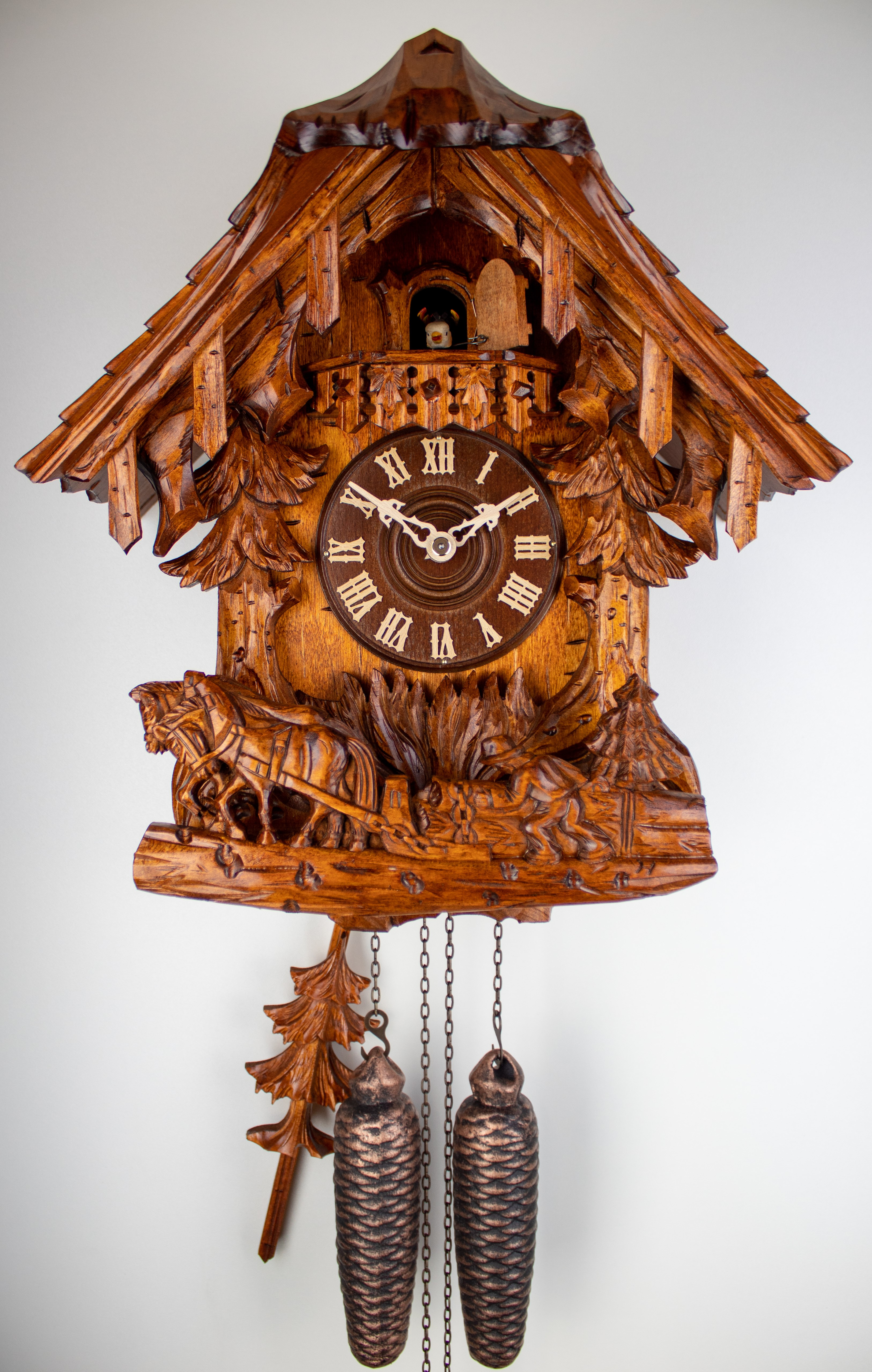 8 Days Cuckoo Clock Black Forest House with farmer and working horses