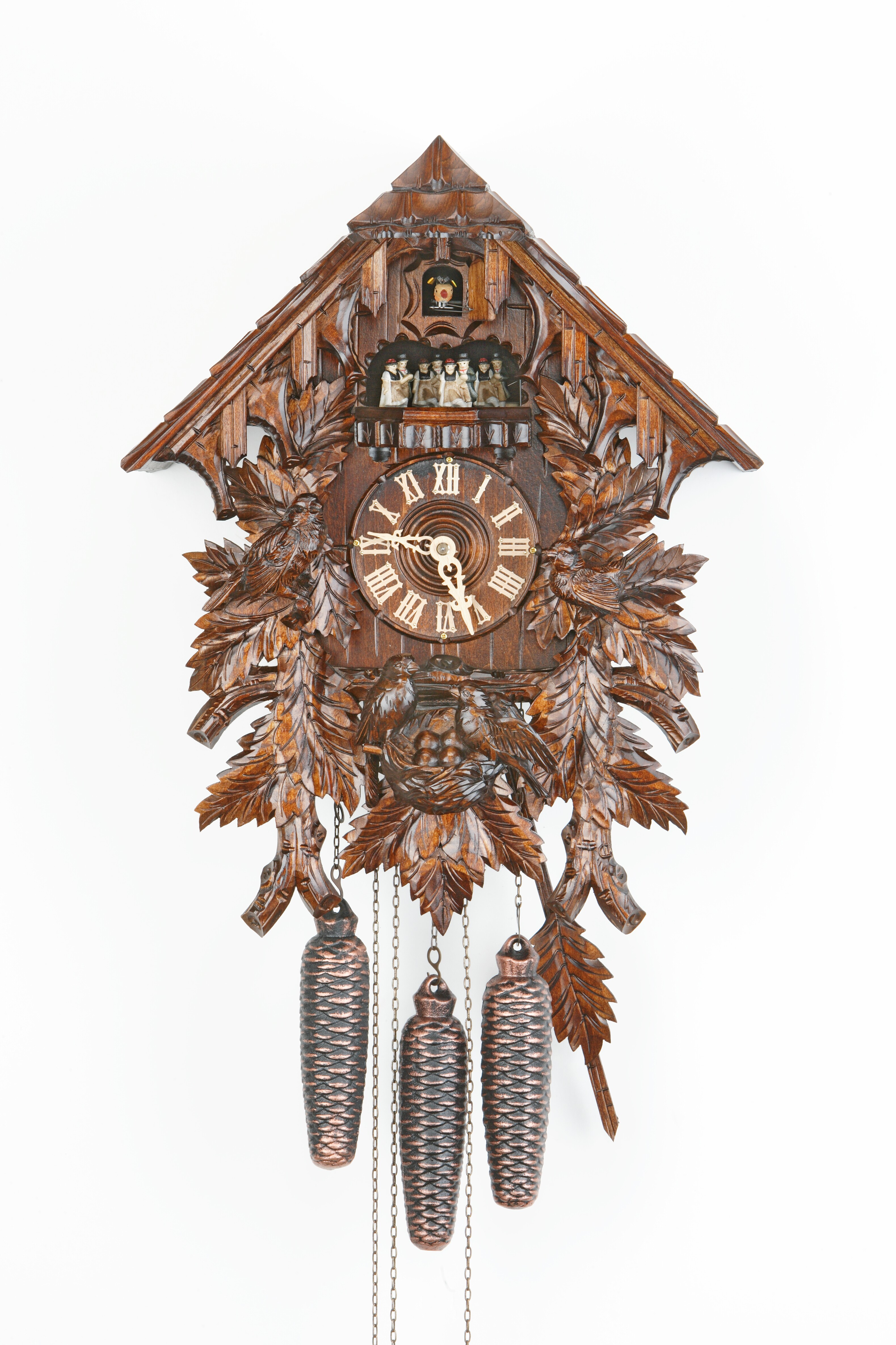 8 Days Music Dancer  Cuckoo Clock Black Forest House with bird family