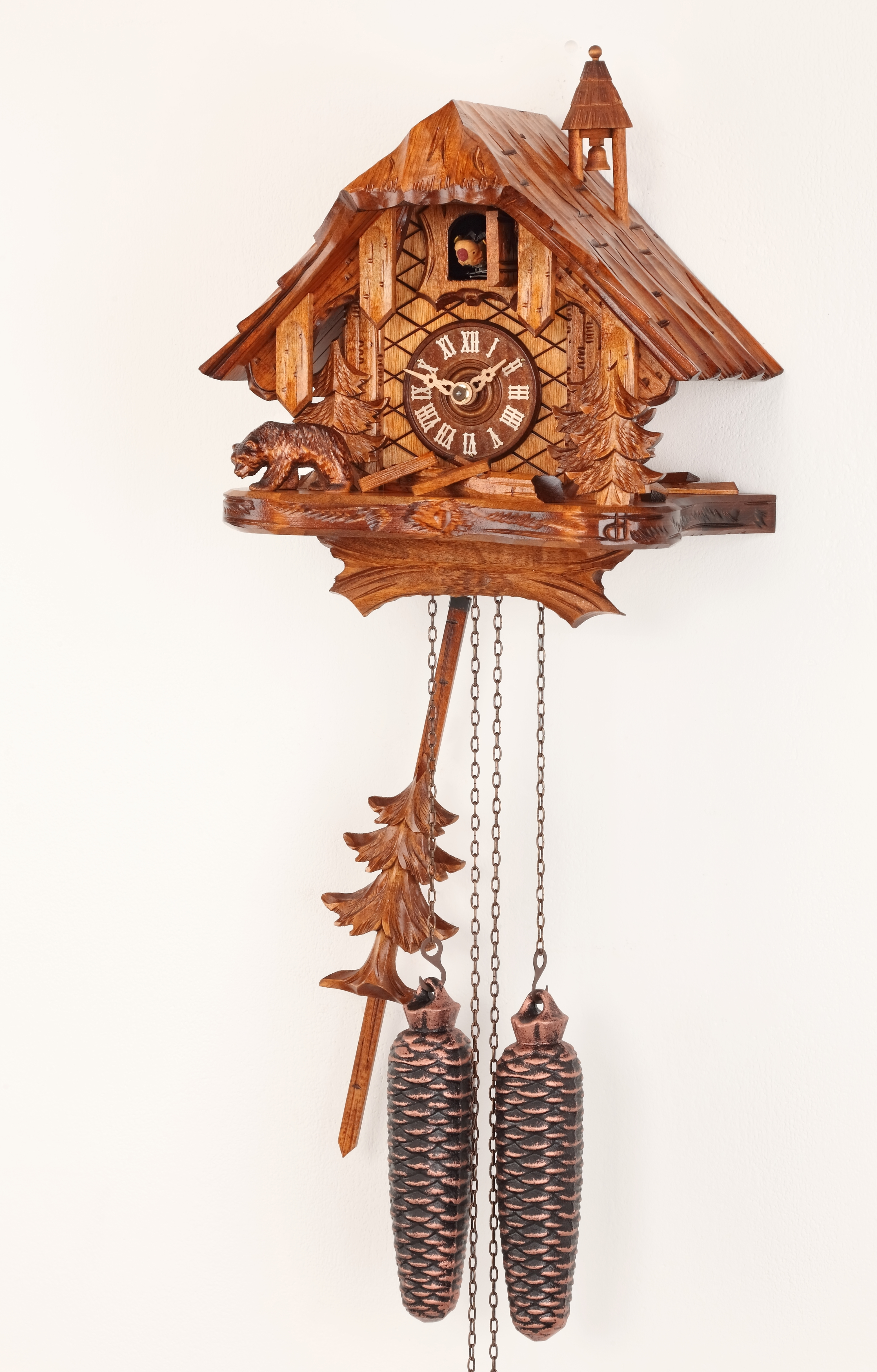 8 Days Cuckoo Clock Black Forest House with with bear and trees