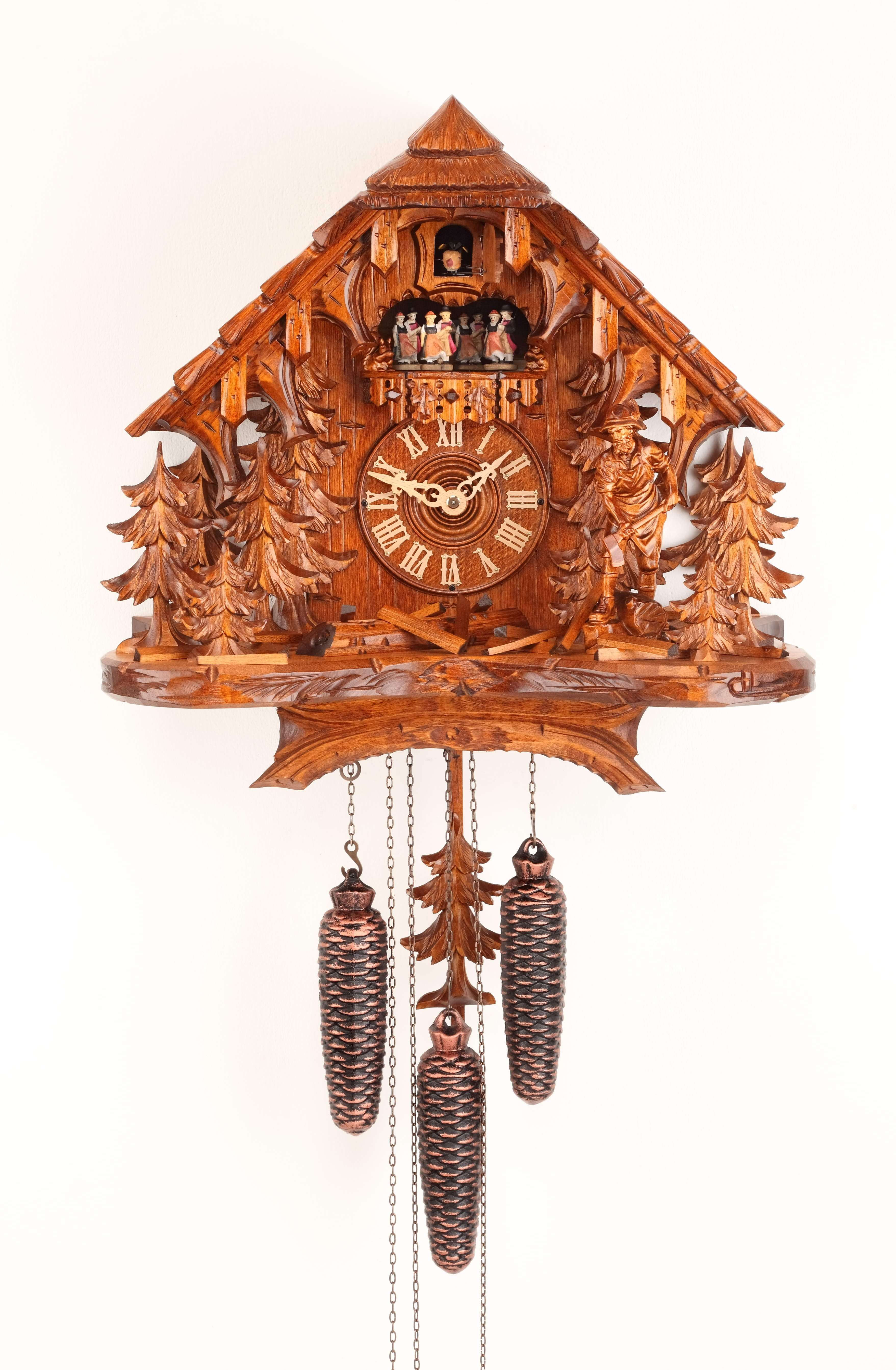 8 Days Music Dancer  Cuckoo Clock Black Forest House with Woodcutter
