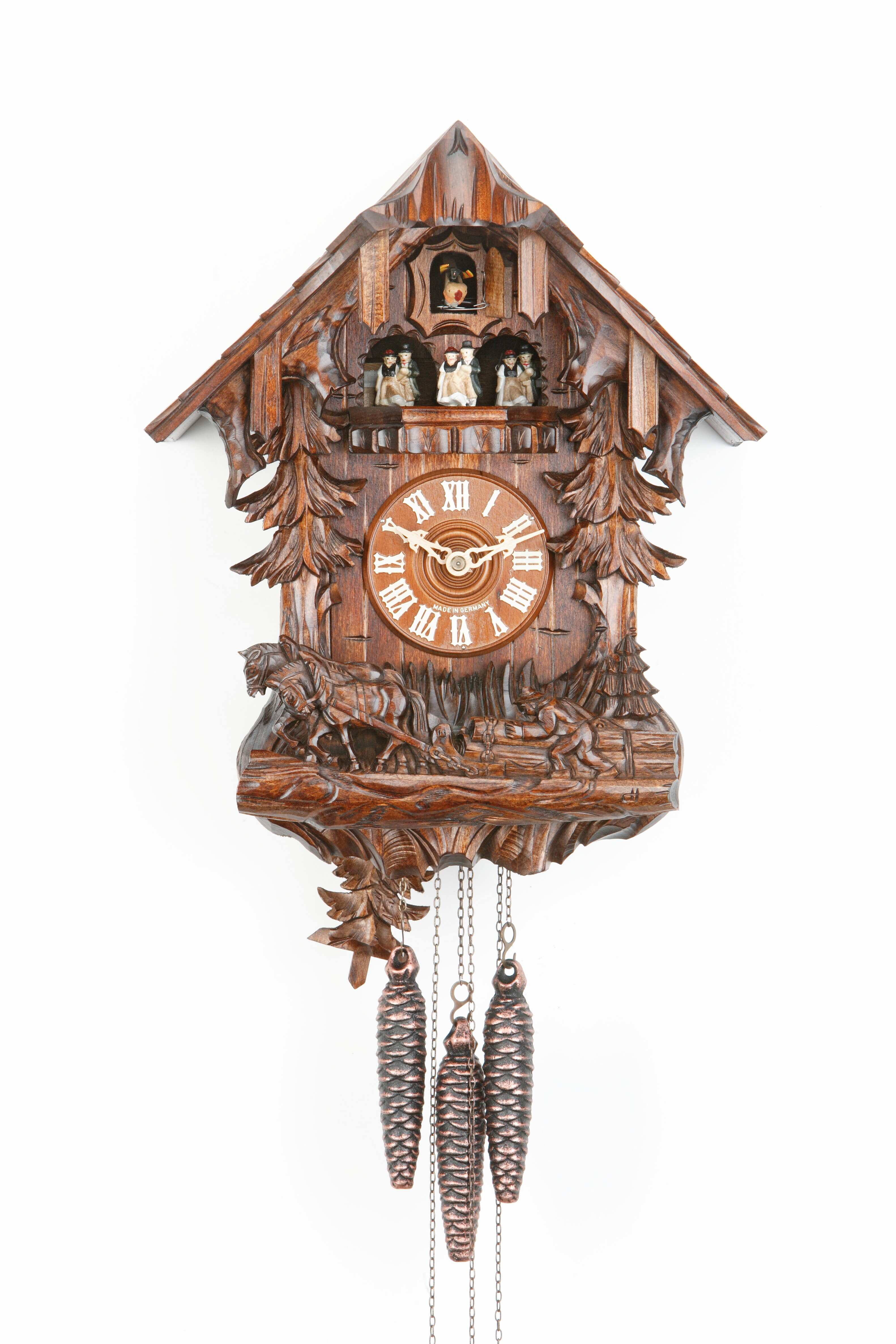 1 Day Music Dancer Cuckoo Clock Black Forest House with farmer and working horses
